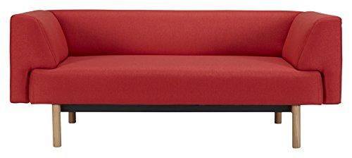 Kragelund K21002202247 Canapé fixe 2 places Tissu Rouge 168 x 85 x 65 cm