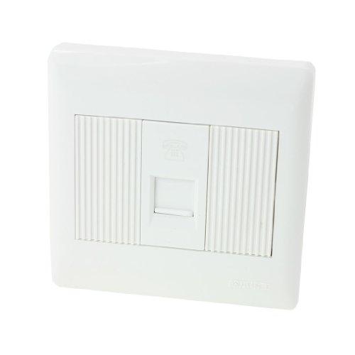 sourcing map Weiß Quadrat Wand befestigter Platte RJ11 8P4C Telefonsteckdose