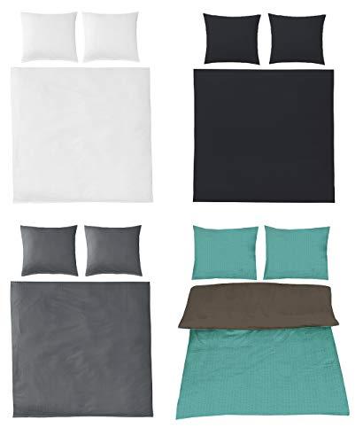 Seersucker Bettwäsche Uni Baumwolle bügelfrei in 4 Farben 200x200 cm 2X 80x80 cm Anthrazit