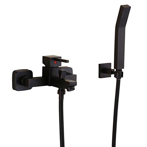 Preisvergleich Produktbild Badezimmer Regen Mixer Dusche Combo Set Kopf Handbrause und Badewanne Auslauf Wasserhahn schwarz Waschtischarmatur