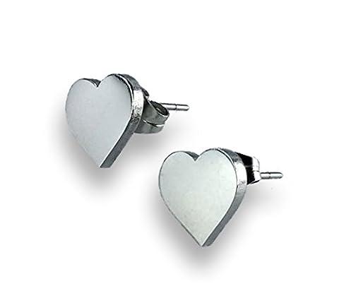 Heart Shaped stud earrings in Stainless Steel, Hypoallegenic, Gift pouch included (Steel)