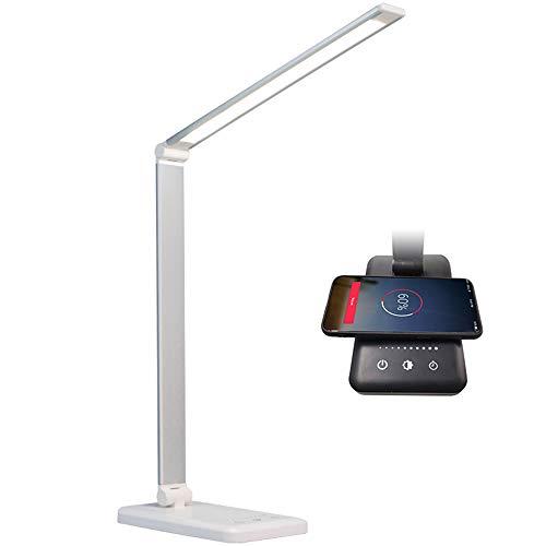 SHENGY Metall-LED-Schreibtischlampe mit kabelloser Aufladung, Büroleuchte mit 5 V / 1A-USB-Anschluss, dimmbare Tischlampe mit 3 Farbmodi, 5 Helligkeitsstufen, Touch Control- 450 Lumen,Silver
