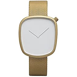 Bulbul Pebble Unisex Quartz Watch with White Dial Analogue Display and Gold Stainless Steel Gold Plated Bracelet P08
