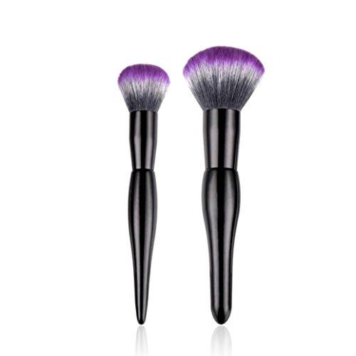 URSING 2Pcs Pro Pinceaux de Maquillage Fondation Maquillage Brosse Ombre à Paupières en Poudre Brush Cosmétique Beauté Outil de Pinceau à Lèvres Eyeliner de Professionnel Make Up Brush (Multicolore)