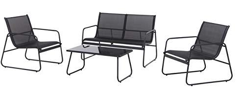 ENVY Garten Lounge Set Outdoor, Designer Sofa, Sessel und Tisch für 4 Personen, Skandinavisches Design, Balkon, Garten, Terrasse, Wetterressistent und langlebig, Platzsparende Lagerung