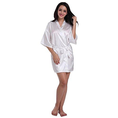 Beikoard biancheria intima donna sexy vendita calda donne puro la sposa del matrimonio meta 'le maniche breve kimono vestaglia di seta pigiama per (bianco, s)