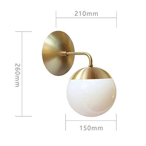 unted Nordic Copper Modern Led Wall Lamp Home Indoor Lighting Bathroom Mirror Light Glass Ball Wall Lights Fixtures ()