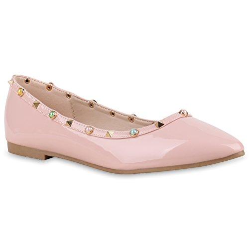 Klassische Damen Ballerinas Metallic Schuhe Spitze Schuhspitze Rosa Steine