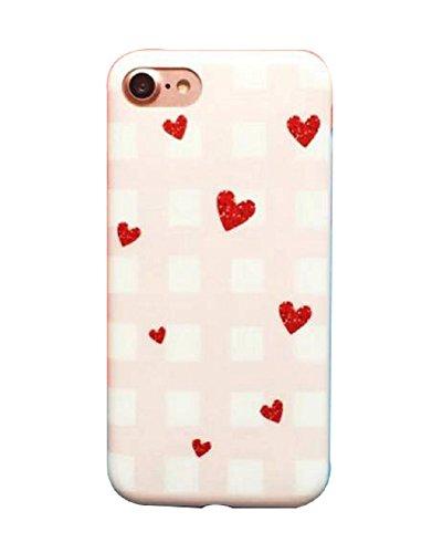 Hosaire Coque Soft TPU Silicone Ultra-thin Phone Case Housse pour iPhone 7 Créatif Motif de Peint Rouge Cœurs Étui Cover de Protection de Téléphone Case pour iPhone 7 Rouge Cœurs
