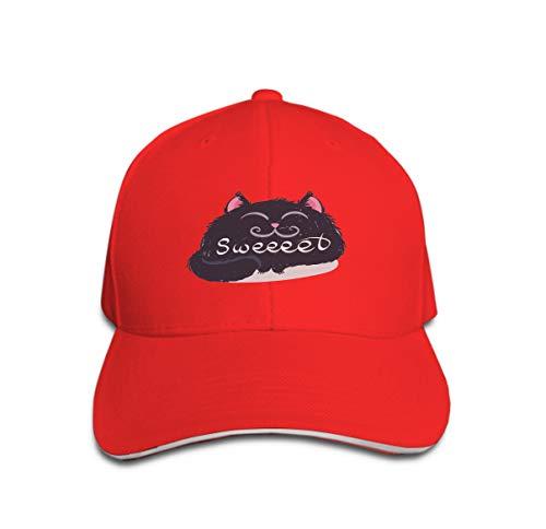 l Cap Trucker Hat Cowboy Hat Hip Hop Sports Snapback Cute Monster Kitten Text Print Design Poster Card Label Sweet c red ()