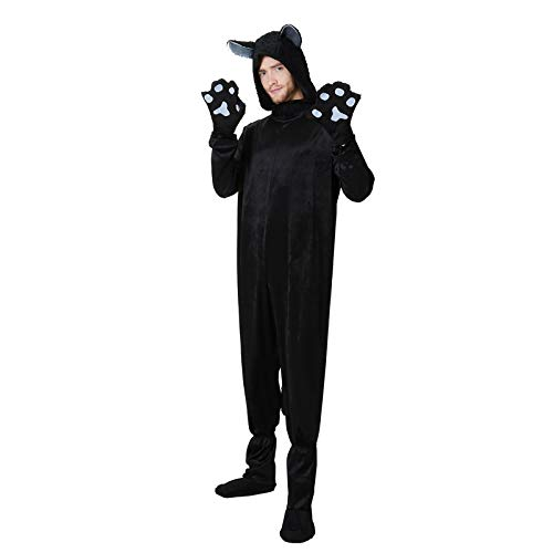 FHSIANN Erwachsener Mann Schwarze Katze Maskottchen Vlies Lustige Halloween Familiengruppe Kostüm Idee Tier Pokemon Cosplay Hoodie Overall Plus Größe (Katze Halloween Kostüm Ideen)