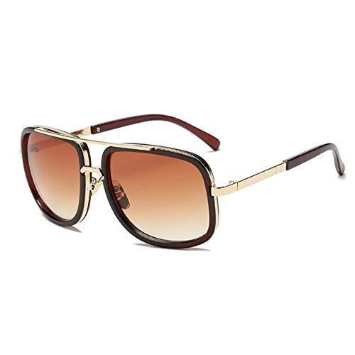 WZYMNTYJ Klassische Flat Top Spiegel Sonnenbrille Square Gold Männlich Weiblich Übergroßen Männer Sonnenbrille Frauen