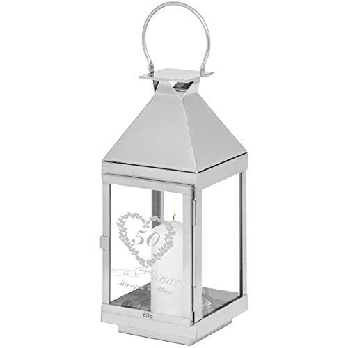Geschenke 24: Personalisierte Hochzeitslaterne 50 Ehejahre - hochwertige Marken-Laternen von CILIO - wir gravieren Zwei Namen und EIN Datum (36 x 13 x 13 cm (H x B x T))