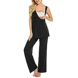 Ucoolcc Damen Stillpyjama Umstandspyjama Set Stillnachthemd Baumwolle Maternity V-Ausschnitt Seite Geraffte umstandsshirt Zweiteilige Still-Schlafanzug