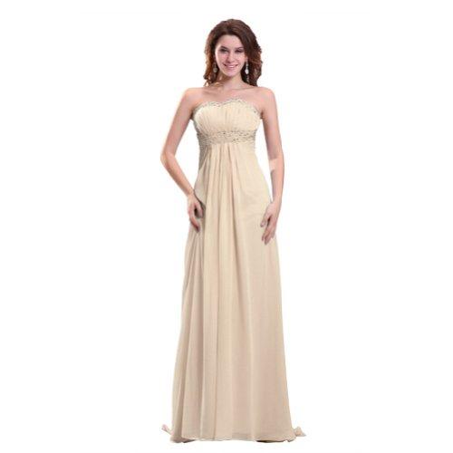 Lemandy robe de soirée mousseline longueur ras du sol sans bretelles comme la photo