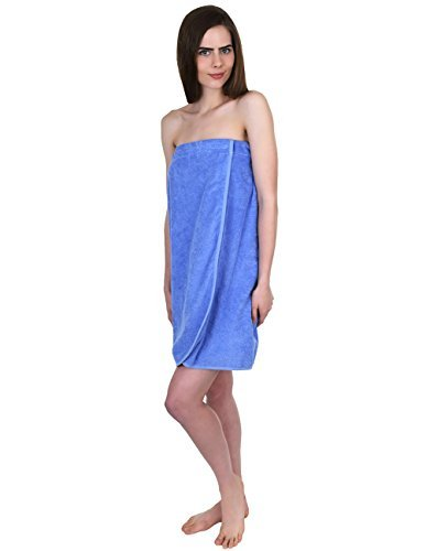 TowelSelections Damen Wrap, Dusche & Bad, Frottee-Spa-Handtuch, hergestellt in der Türkei - Blau - Large (Snap Spa Wrap)