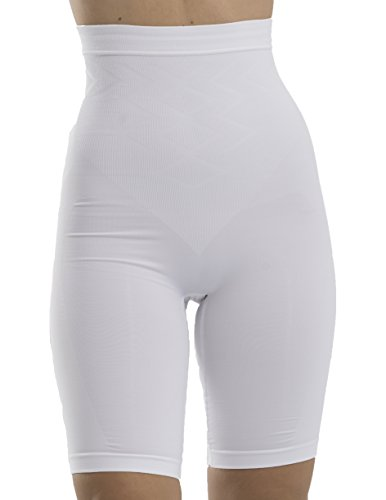 UnsichtBra Bauch Weg Damen Figurformende Miederhose Bodyformer mit Bein stark Figurformende Unterwäsche (sw_0600)(L (44-50), Weiss)