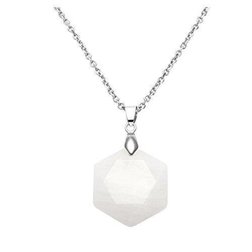 QGEM Damen Schmuck collier Davidstern Stein Anhänger chakra Edelstein Hexagramm Halskette pendant mit 61cm Kette (natürlich Bergkristall Quarz)