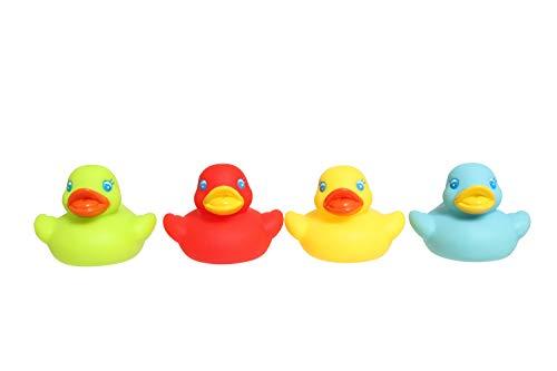 Playgro Mini-Badeenten-Set, 4 Stück, BPA-frei, Ab 6 Monaten, Bright Baby Duckies, Bunt, 40149