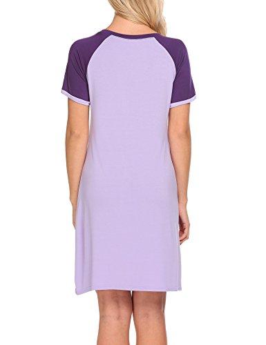 Unibelle Damen Nachthemd Kleid Nachtwäsche Nachtkleid Sleepwear Mit Tasche S-XXL Violett