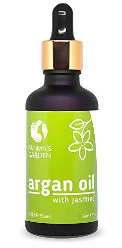 Fatima's Garden - Huile d'Argan au Jasmin, hydratante anti-âge pour visage, cheveux, corps ongles, huile d'argan bio pressée à froid, pure, vierge - 50ml