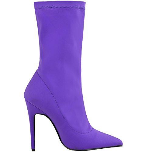 Bottes hauteur cheville - lycra stretch - talons aiguille/bout pointu - femme Lycra violet vif/hauteur cheville