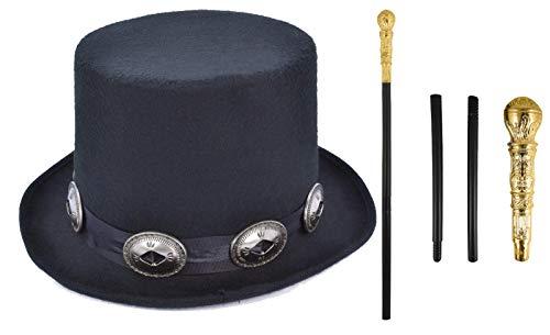 Stil Kostüm Im Herren Jahre Der 80er - Labreeze Erwachsenen-Kostüm-Set mit schwarzem Zylinder und Pimp Stick im Stil der 80er Jahre, Goldfarben