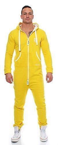 Gennadi Hoppe Herren Jumpsuit Onesie Jogger Einteiler Overall Jogging Anzug Trainingsanzug Slim Fit,gelb,Small