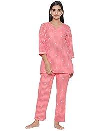 JISORA Women's Cotton Printed Night Pink Suit