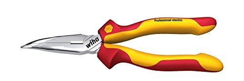 Wiha Flachrundzange Professional electric mit Schneide gebogene Form, ca. 40° (26728) 160 mm Zange für Elektriker, VDE geprüft, stückgeprüft, stabil und robust