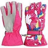 Ski Snowboard Gloves Winter Waterproof Windproof Warmest Snow Gloves with Wrist Leashes