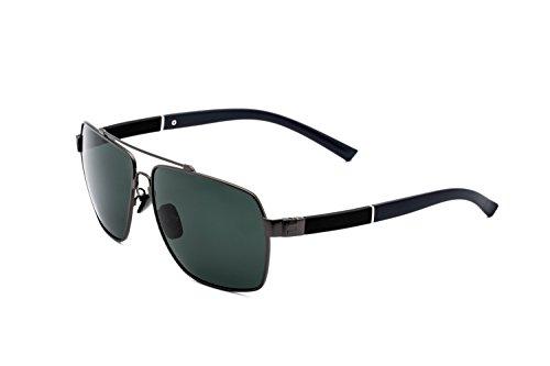 Hombre Gafas de Sol Polarizadas Aviador UV 400 Protección Gafas Ligeras con Estuche (Verde 1)