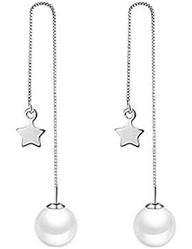 Damen Ohrstecker Ohrhänger 925 Sterling Silber Perlen Sterne Ohrringe für Kinder Frauen Mädchen