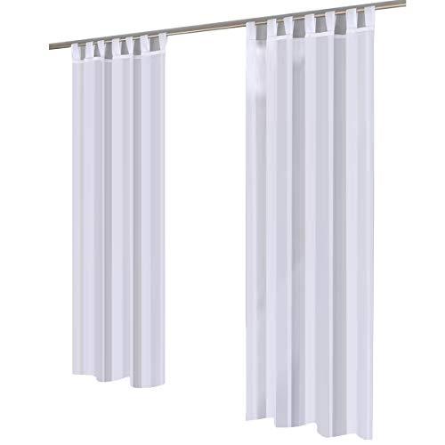 Gräfenstayn®, tenda in voile trasparente, set da 2 pezzi, tinta unita 245x 140cm, gräfenstayn® modello venezia 10070. bianco
