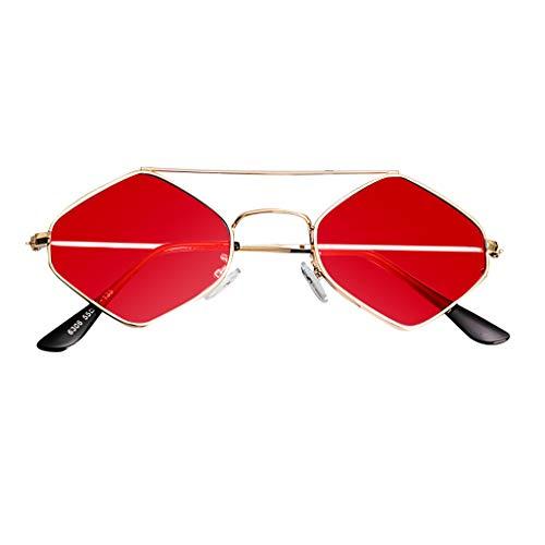 fazry Damen Jahrgang Eng Katzenauge Zweistrahl Diamant Metall Rahmen Sonnenbrille Brillen(Rot)