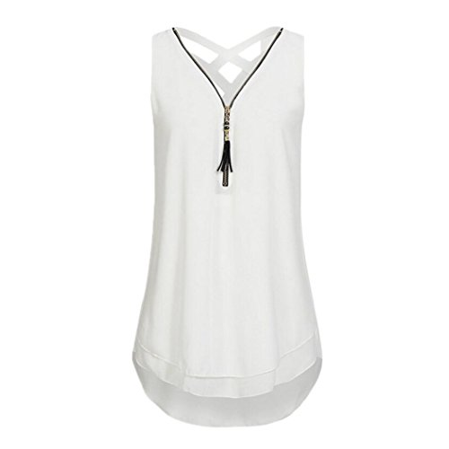 JUTOO Women Loose Flowers Chiffon Sleeveless Tank V-Neck Zipper Hem Scoop TShirts Tops(A-Weiß, EU:46/CN:XL)