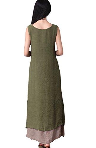 Voguees Damen Casual ärmellosen Doppellagig Sommerkleid Grün