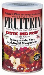 Natures Plus Fruitein High Protein Energy Shake Exotic Red Fruits 576gm with Pomegranate, Noni, Acai, Goji and