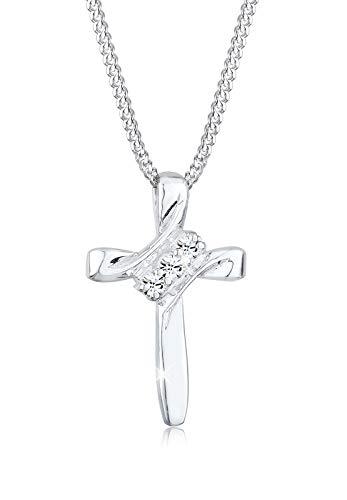 Elli Halskette Kreuz Kommunion Swarovski® Kristalle 925 Silber