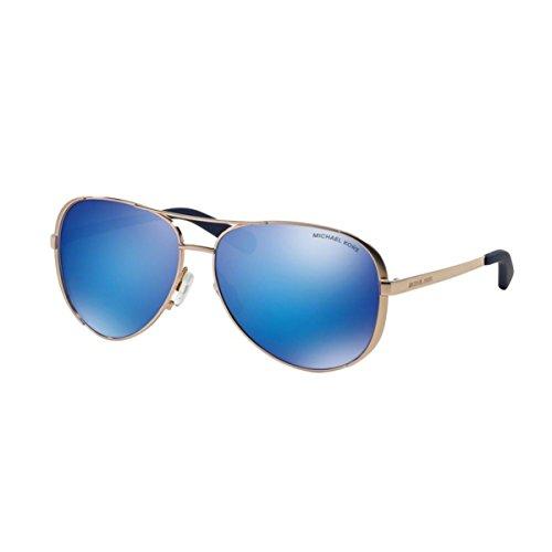 Michael Kors Damen Chelsea MK5004 Sonnenbrille, roségold-blau verspiegelt 100325), Large (Herstellergröße: 59)