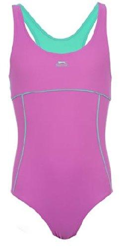 9-10 Jahre Slazenger Mädchen Badeanzug in der Farbe : lila/türkis