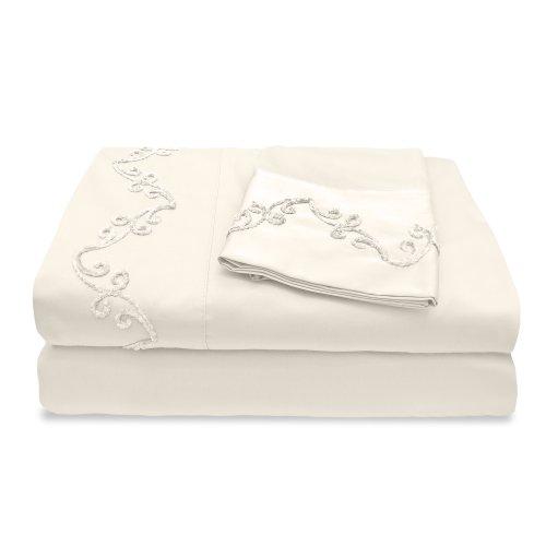 veratex die Chenille Scroll Collection 100% ägyptische Baumwolle Baumwollsatin 300Fadenzahl voller Größe-Bettlaken-Set mit eleganten Stitch Saum Design, Blau, elfenbeinfarben, King Size