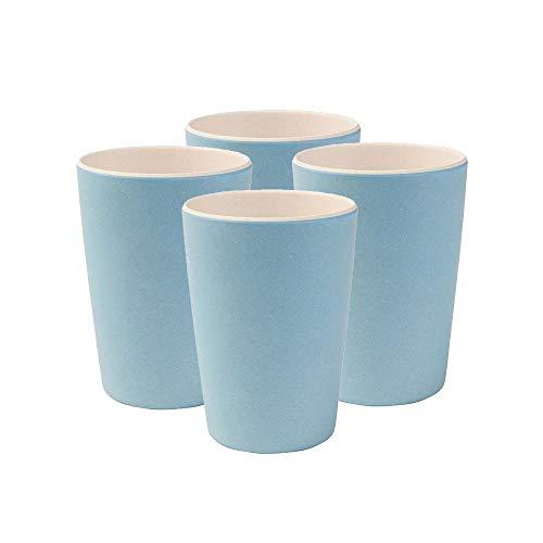 Kindergeschirr I 4 teiliges Bambus Becher Set BPA frei, spülmaschinenfest I Campinggeschirr Partybecher Trinkbecher für Kinder Natur weiß/blau 300 ml ()