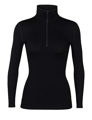 Icebreaker Damen 260 Tech LS Half Zip Funktionsshirt, Black, XL -