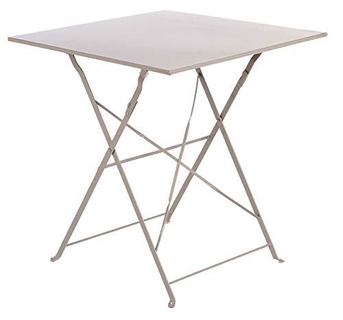 PEGANE Soldes Table de terrasse Alexis Carrée Taupe en Acier, 70 x 70 x 71 cm