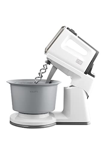 Krups GN 9061 Handmixer 3 Mix 9000 Combi (500 Watt, mit Turbostufe) Rührständer, weiß /grau