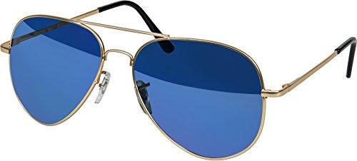 Balinco Hochwertige Pilotenbrille Sonnenbrille 70er Jahre Herren & Damen Sunglasses Fliegerbrille verspiegelt (Gold/Matt-Blue)