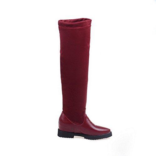 VogueZone009 Donna Scarpe A Punta Tacco Medio Alta Altezza Puro Stivali Rosso