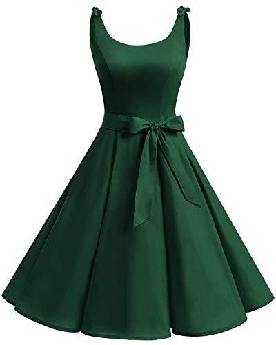 bbonlinedress 1950er Vintage Polka Dots Pinup Retro Rockabilly Kleid Cocktailkleider Dark Green XL