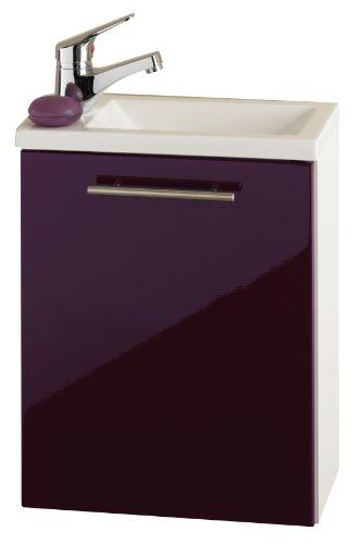 Posseik Alexo 5823 89 Meuble lavabo Blanc/cassis/brillant